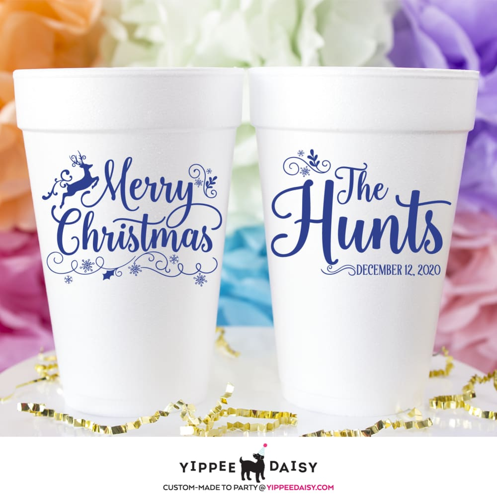 Merry Christmas - Foam Cups