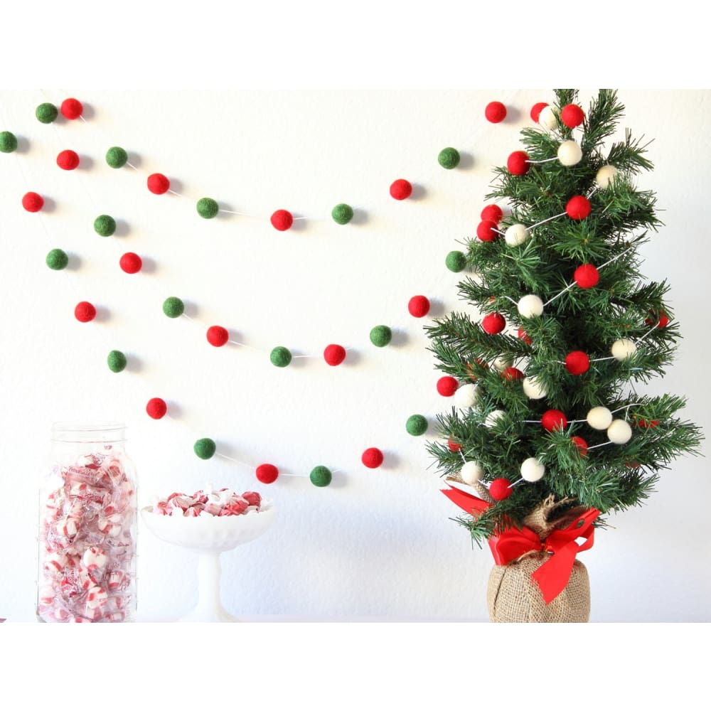 Christmas Tree Felt Ball Garland - Felt Ball Garland