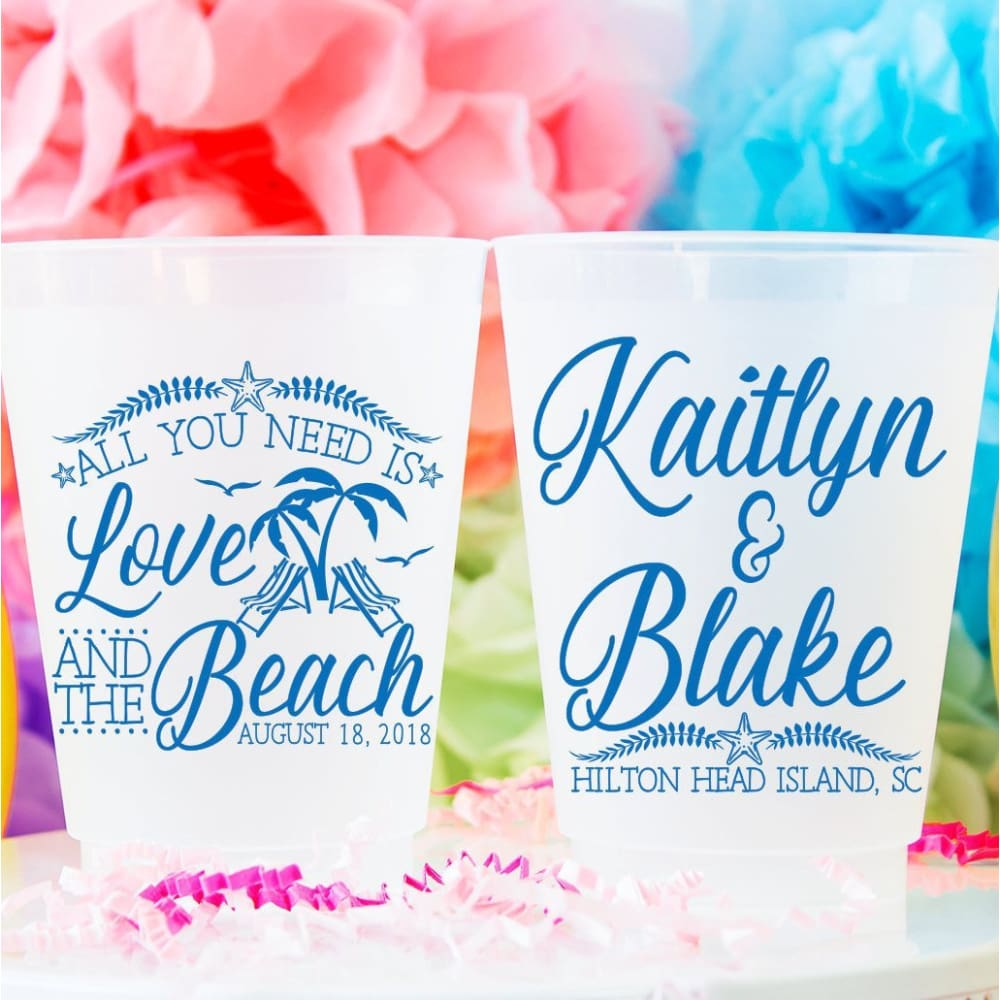 All You Need Is Love & The Beach Personalized Wedding Frosted Cups