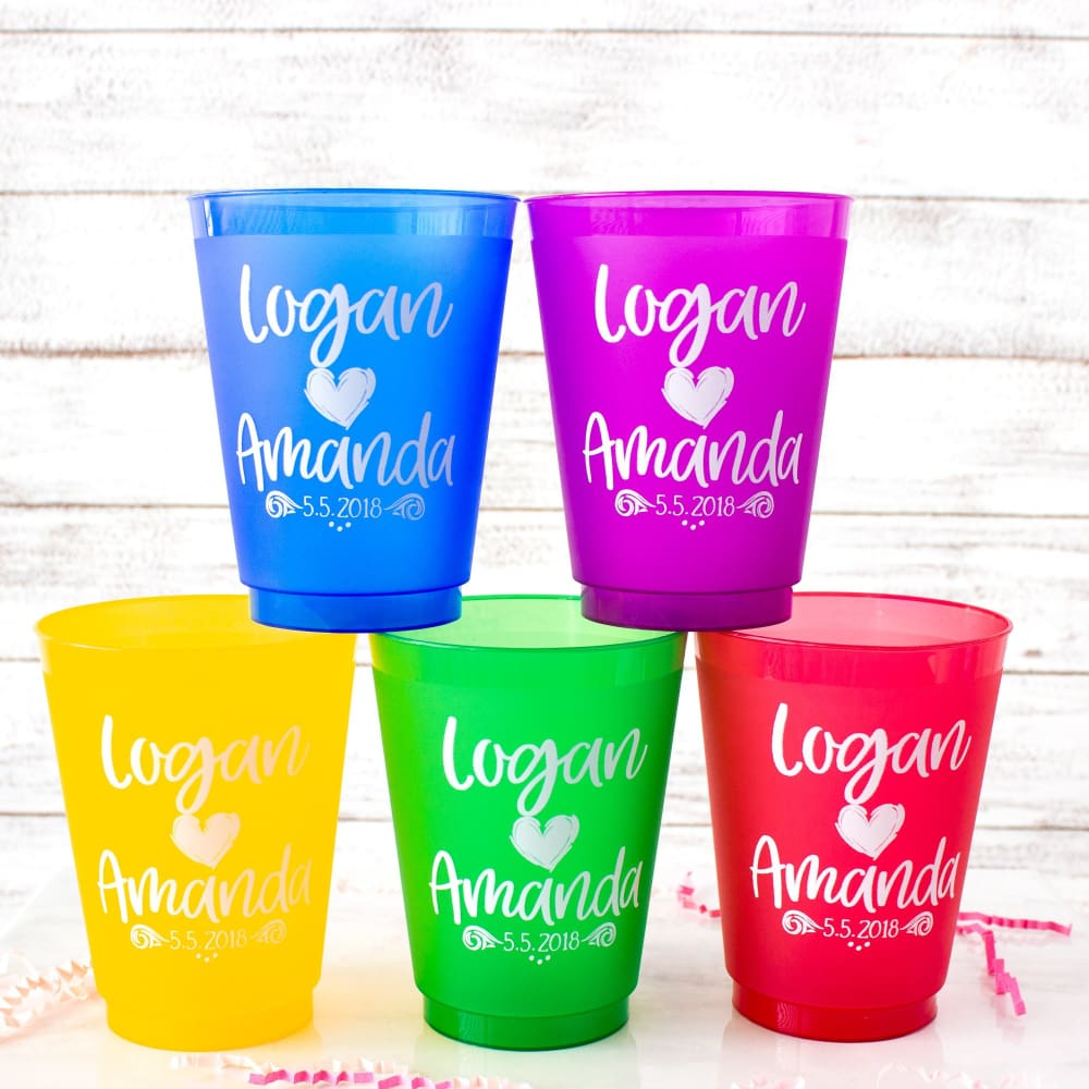 Personalized Cups Shatterproof Cups Fiesta Wedding Favors for Guests Mexican Wedding Birthday Cups Bright Party Cups Frosted Cups Frost Flex