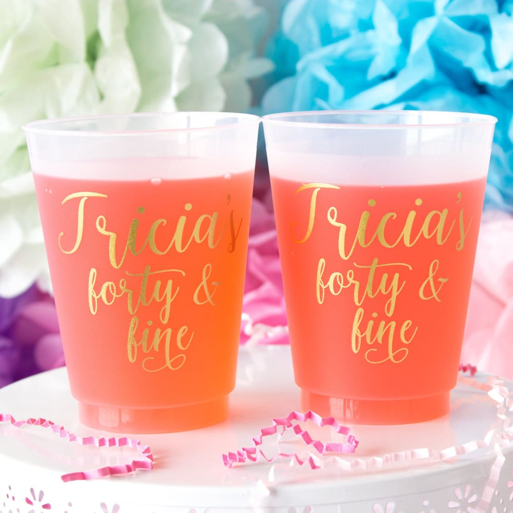 40 & Fine Personalized Birthday Frosted Cups
