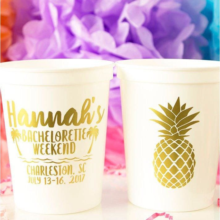 Pineapple Personalized Bachelorette Stadium Cups - Stadium Cup