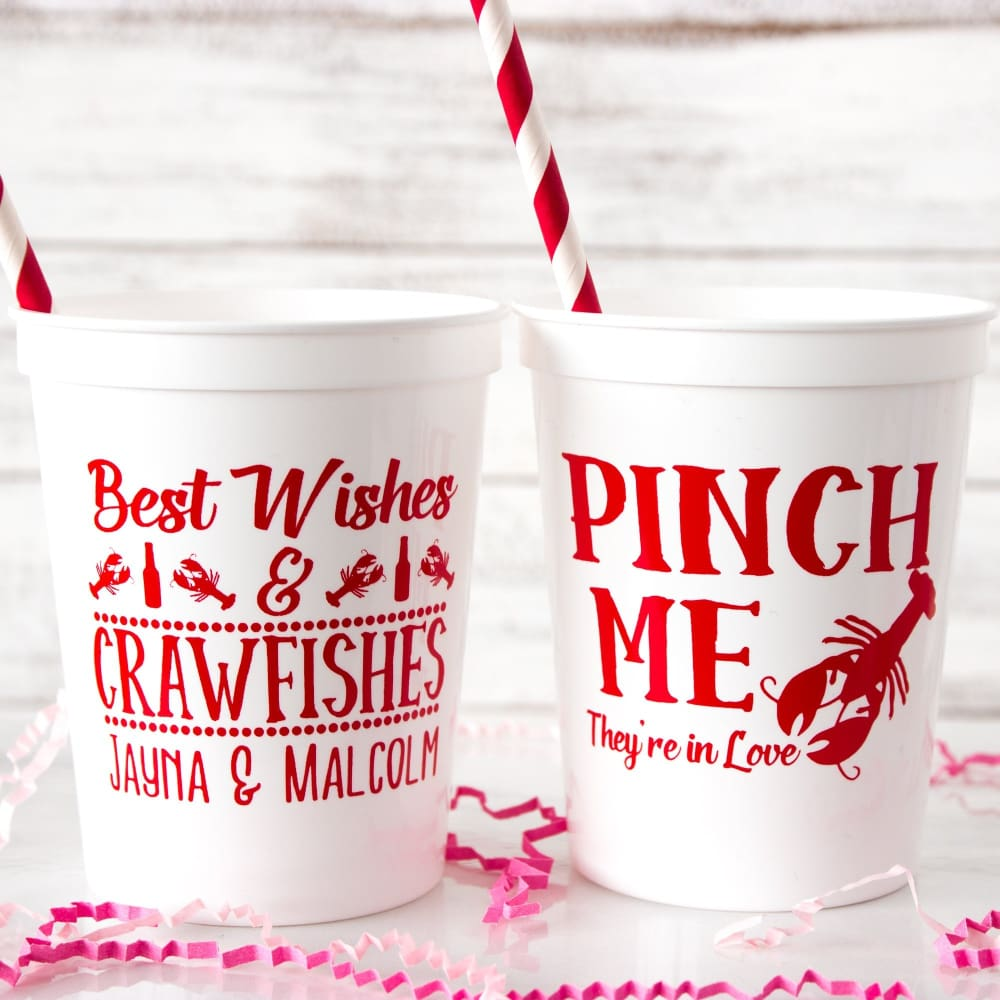 Pinch Me Theyre In Love Personalized Wedding Stadium Cups - Stadium Cup