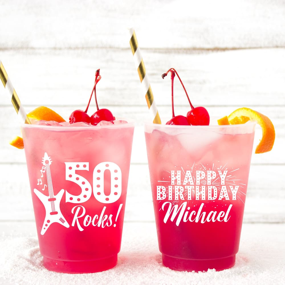 50 Rocks Personalized Birthday Frosted Cups