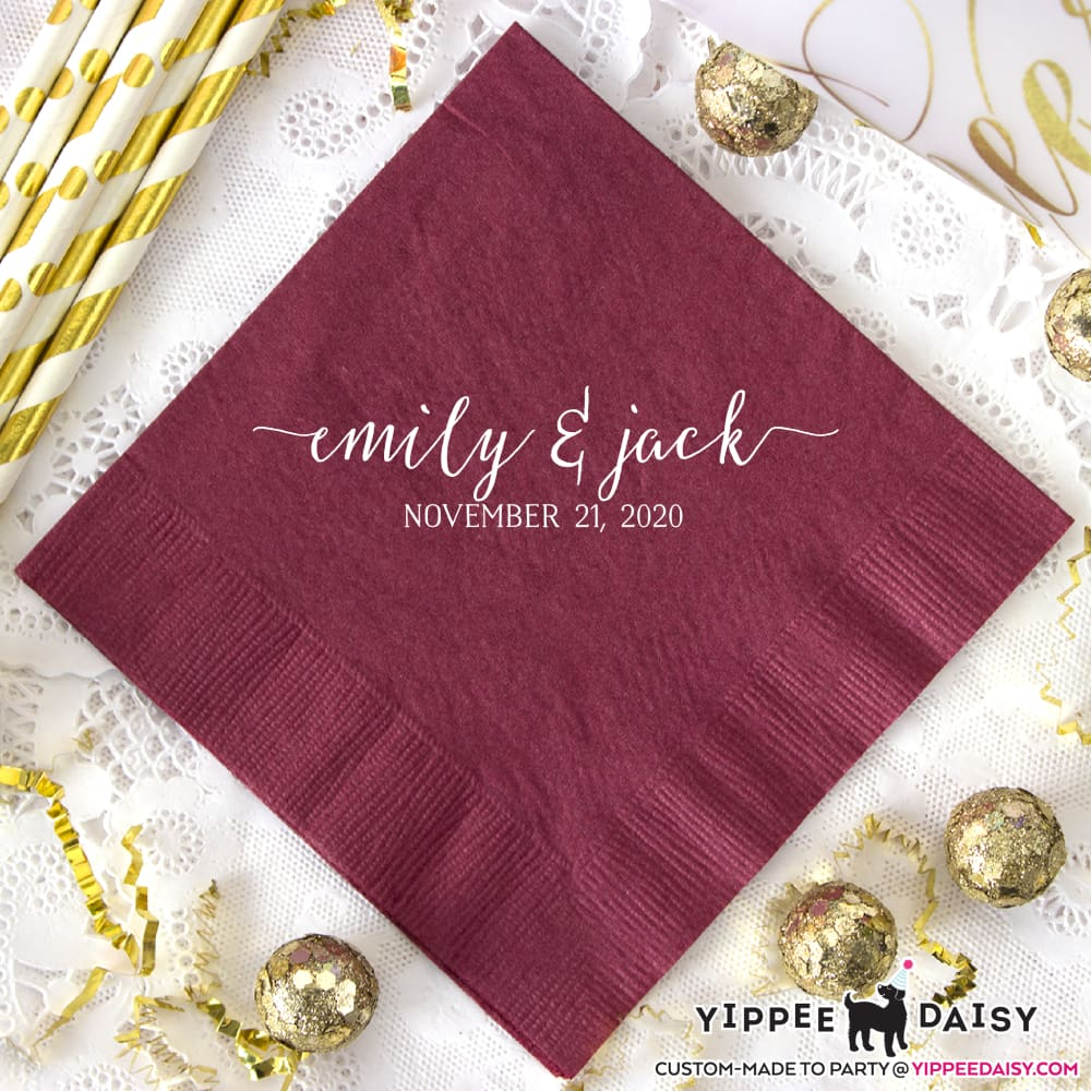 Names & Date Personalized Wedding Napkins - Napkins