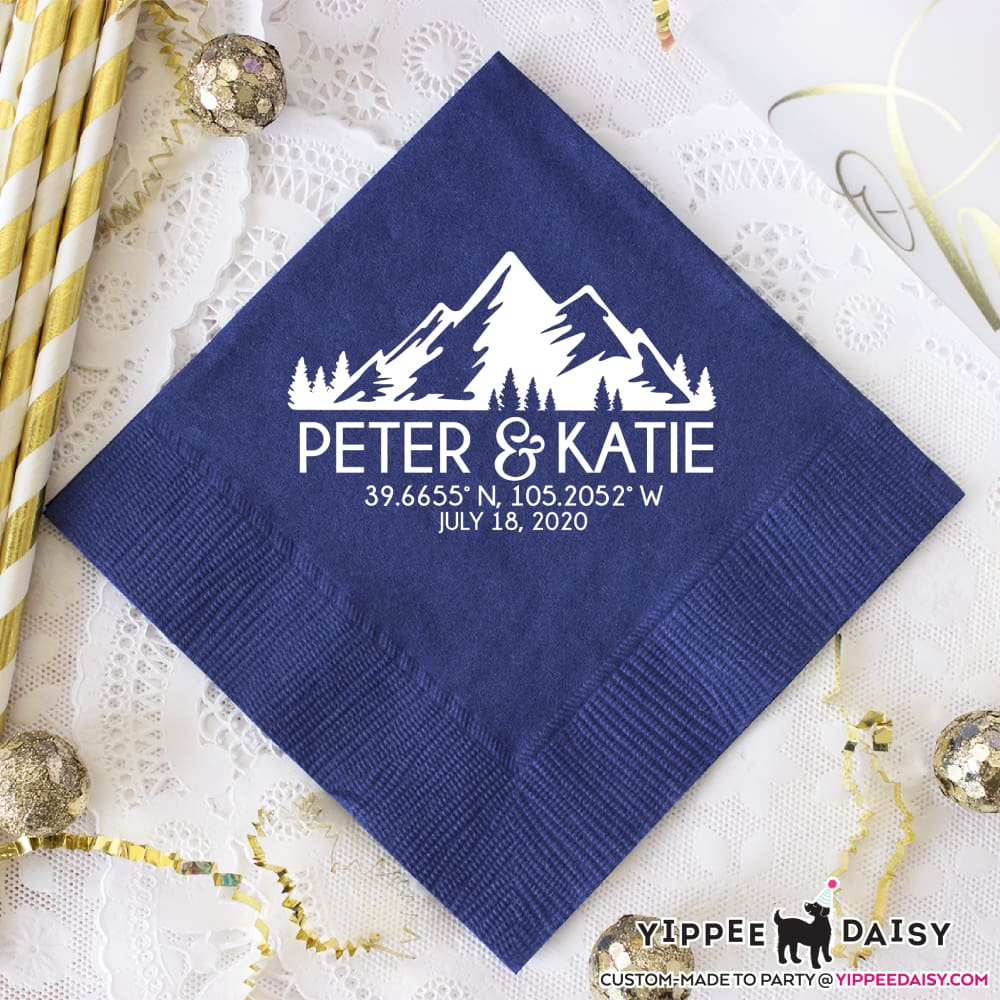 Mountains Personalized Wedding Napkins - Napkins
