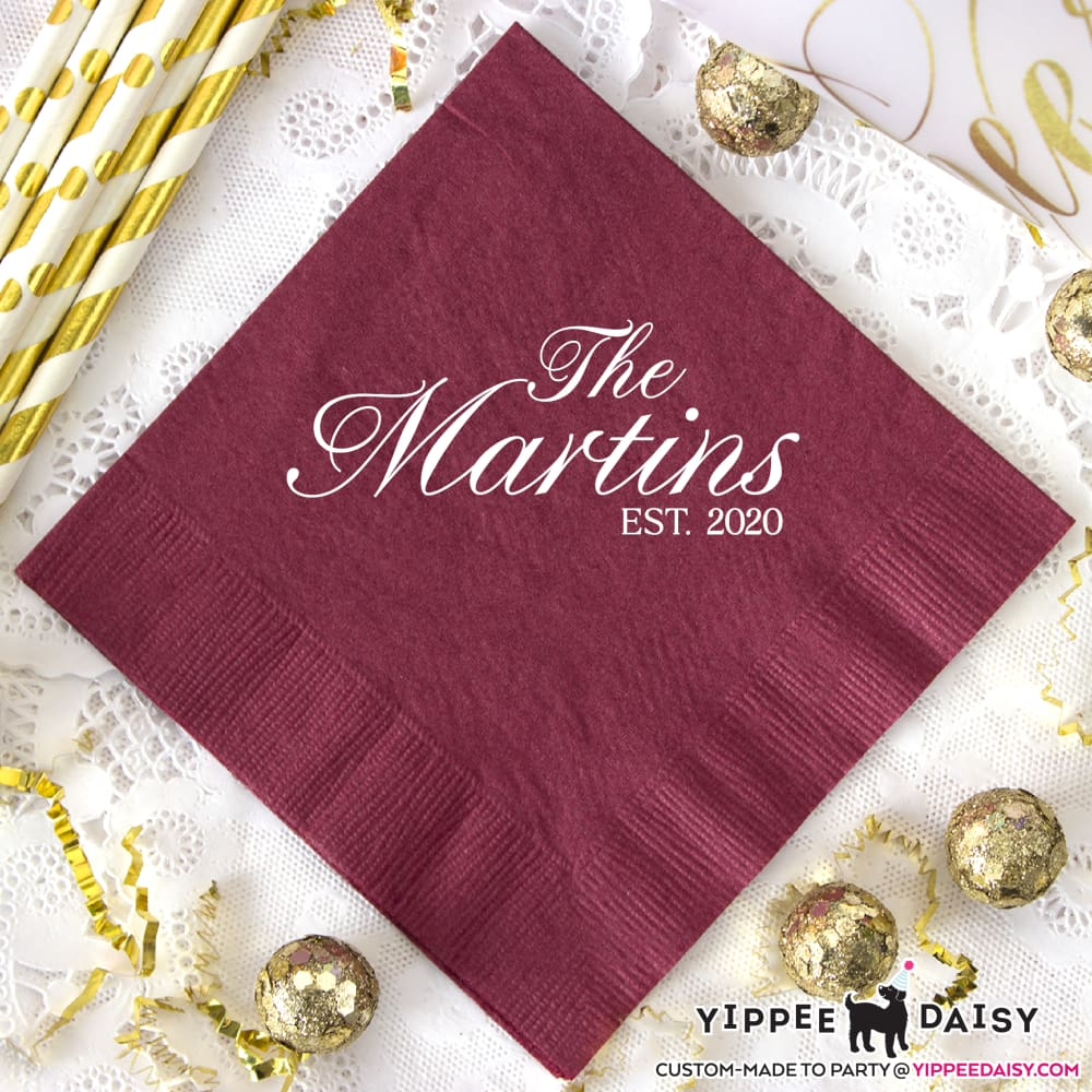 Last Name & Date Personalized Wedding Napkins - Napkins