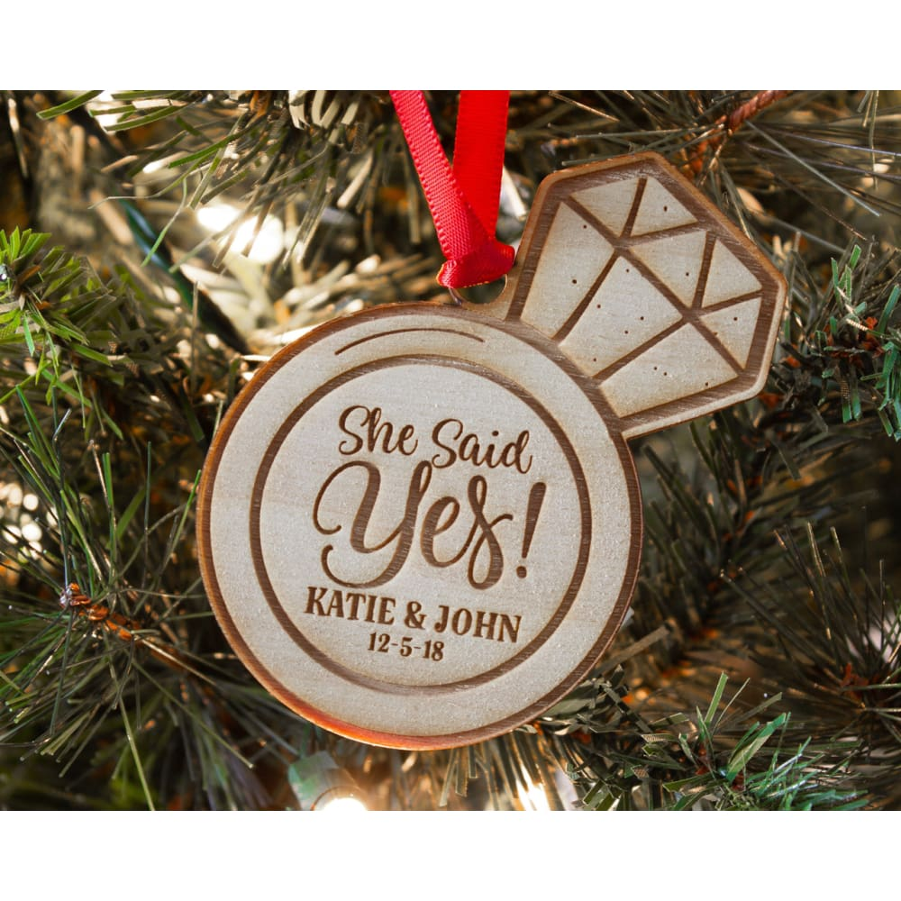 she said yes engagement ring christmas ornament