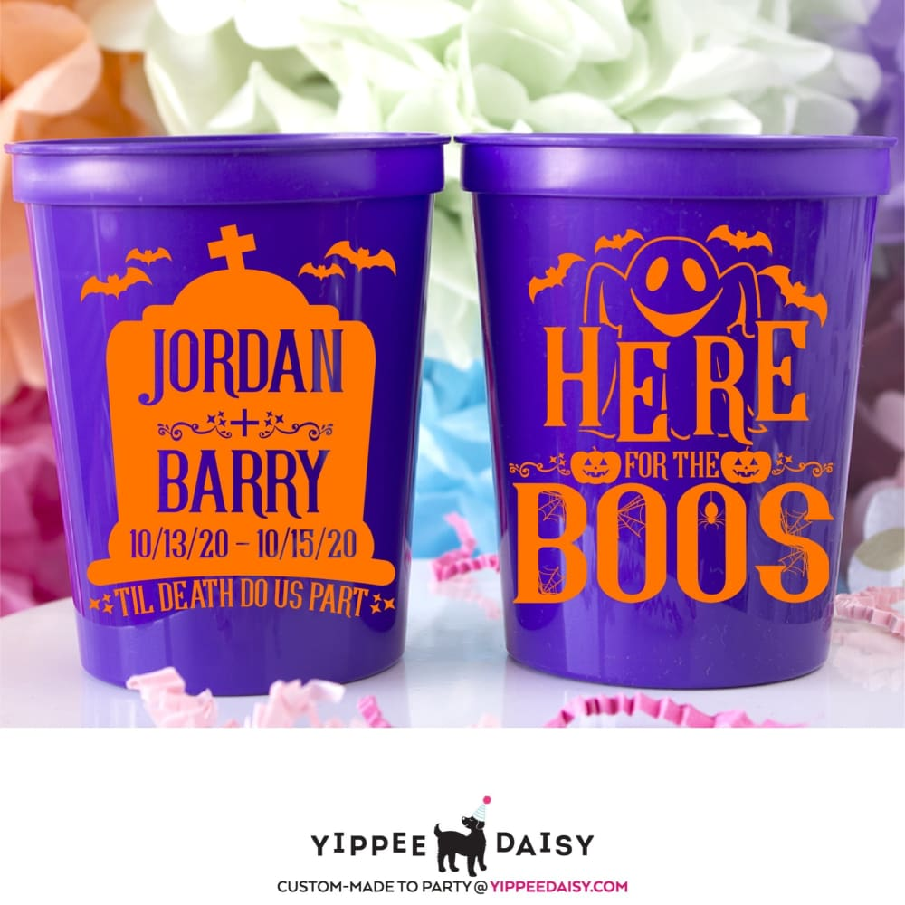 Here For The Boos Personalized Halloween Stadium Cups - Stadium Cup