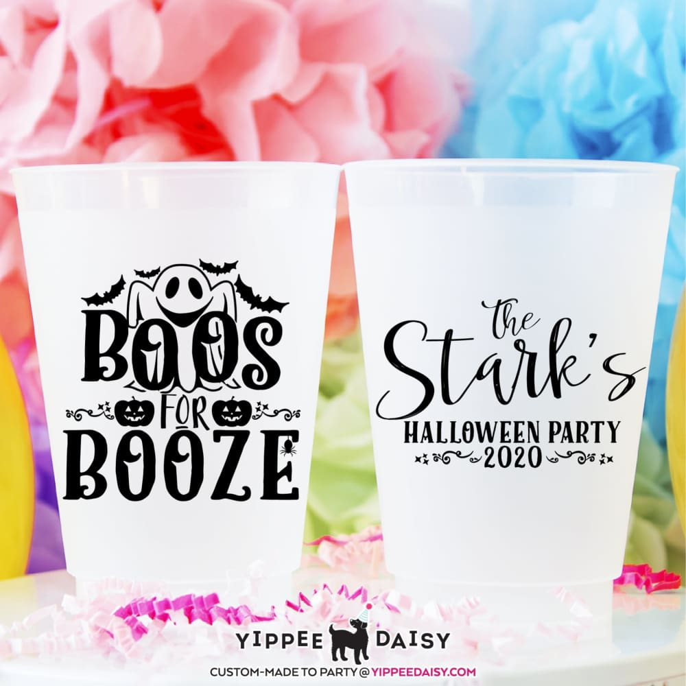 Boos For Booze Custom Personalized Halloween Frosted Cups - Frosted Cup