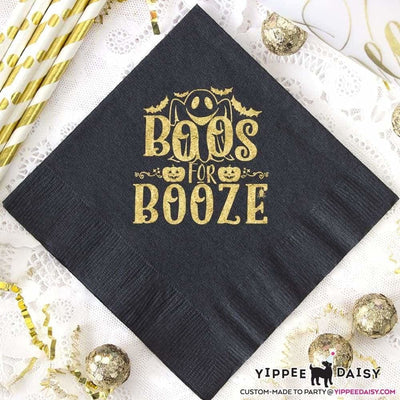 Boos For Booze Custom Personalized Halloween Napkins - Napkins