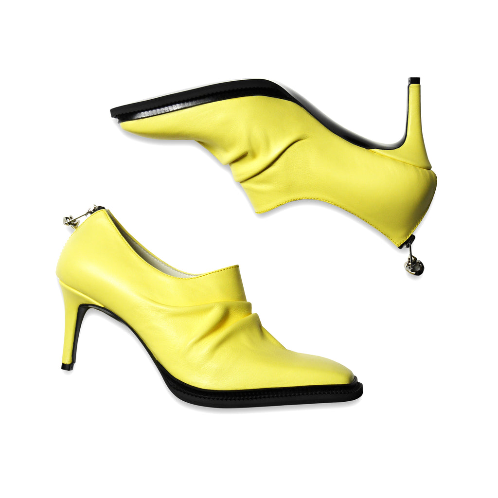 Squared Toe Kitten Heels Yellow