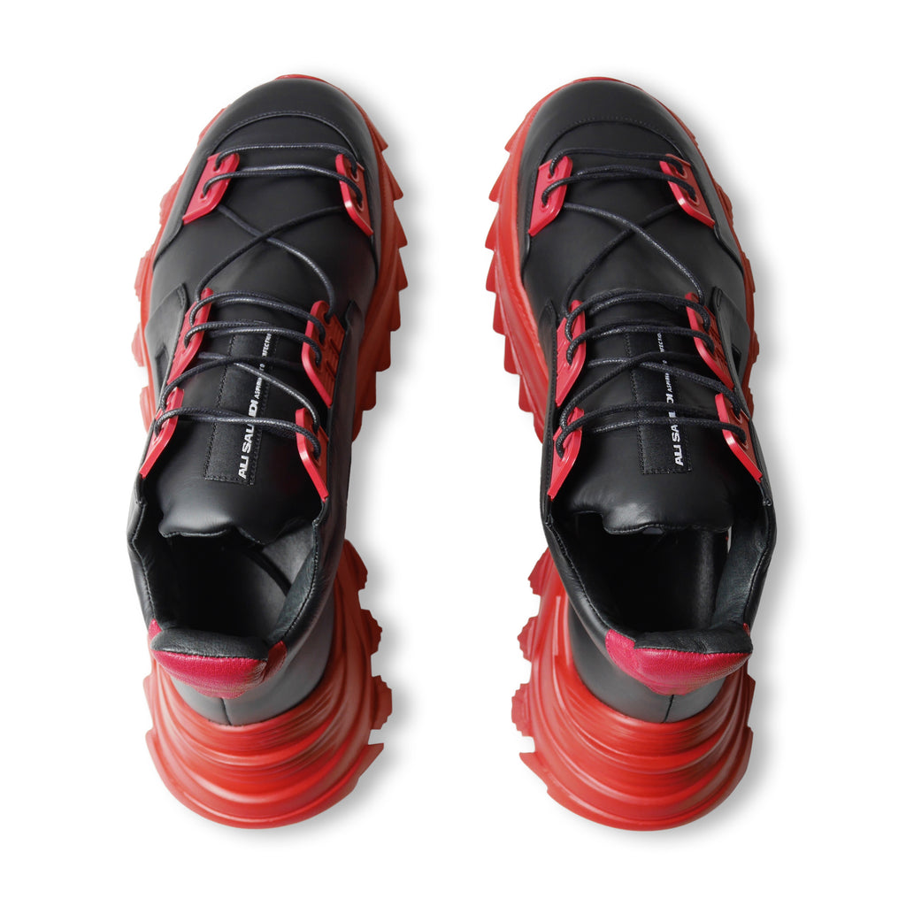 GEMINI II Black x Red Sneakers