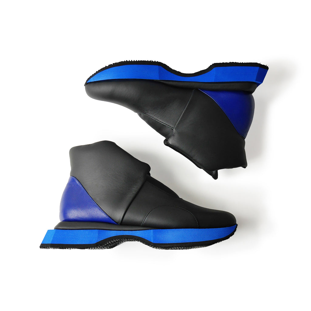 EARTH High Leather Sneakers Black x Blue