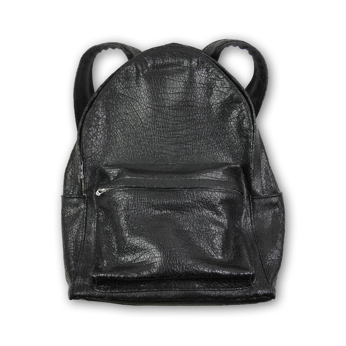 Desert Textured Leather Backpack Black