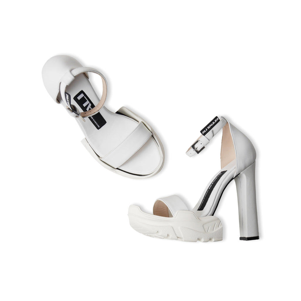 Hybrid High Heel Sandals White