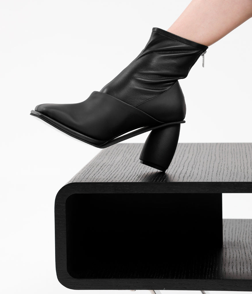 Squared Toe Ankle Boots Black