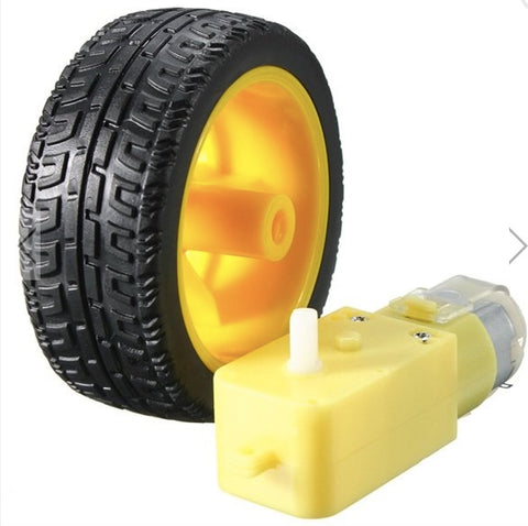 5C   Plastic Tire Wheel With DC 3-6v Gear Motor For Arduino Smart Car