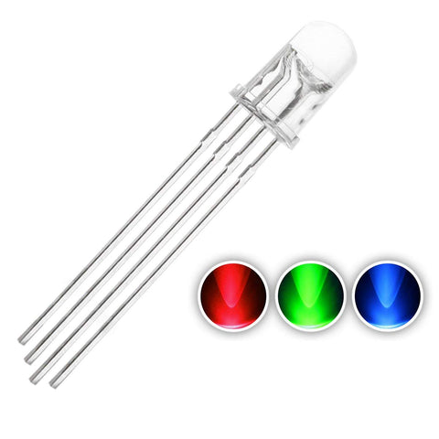 5F  5mm RGB LED Diode Lights Tricolor (Multicolor Red Green Blue 4 pin Common Cathode Clear DC 20mA/Color) 5pcs