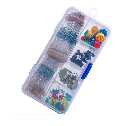 Electronics component pack with resistors, LEDs, Switch, Potentiometer
