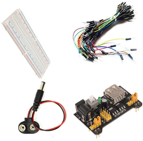 830 Point PCB Breadboard + Power Supply +  65pcs Jumper Cable Wires + 9V DC Battery Plug