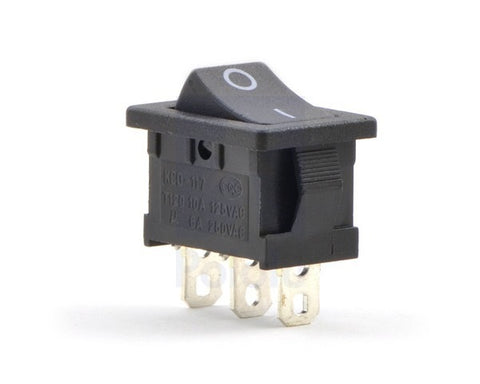 1D10-000A Rocker Switch: 3-Pin, SPDT, 10A