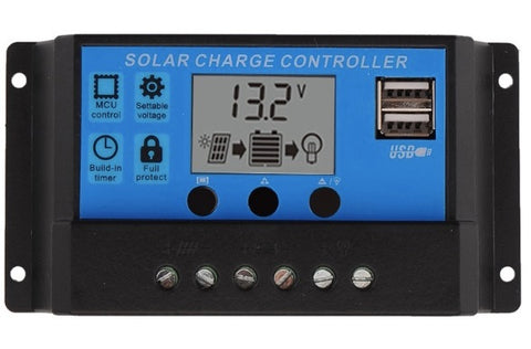 3A000I PWM 10A Dual USB Solar Panel Battery Regulator Charge Controller 12V 24V
