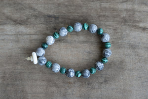 Jasper, Malachite + Bone Single Wrap Wrist Bracelet