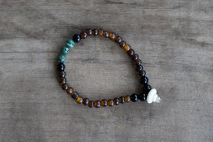 Amber, Malachite, Onyx + Bone Single Wrap Wrist Bracelet