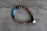Wood, Jasper, Onyx + Bone Single Wrap Wrist Bracelet