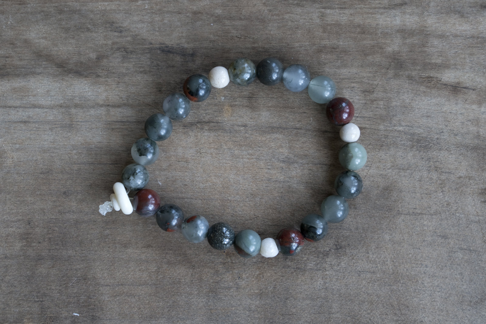 Bloodstone + Bone Single Wrap Wrist Bracelet - 2