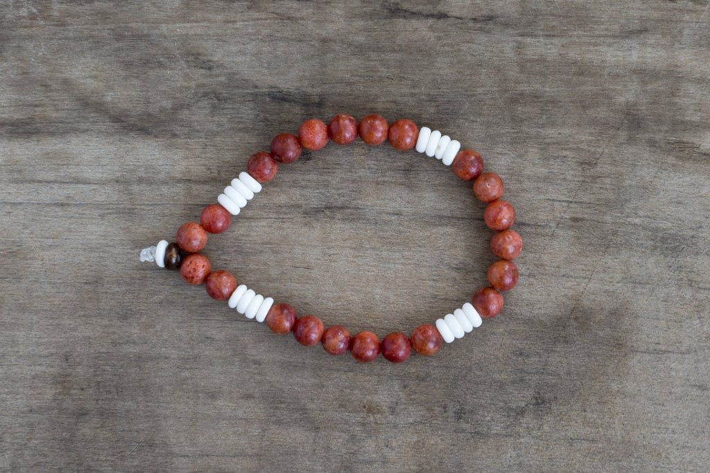 Bone, Wood + Painted Bead Single Wrap Wrist Bracelet
