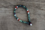 Ziosite/Ruby, Amber, Painted Bead + Bone Single Wrap Wrist Bracelet