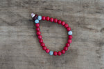 Painted Bead, Amber + Bone Single Wrap Wrist Bracelet