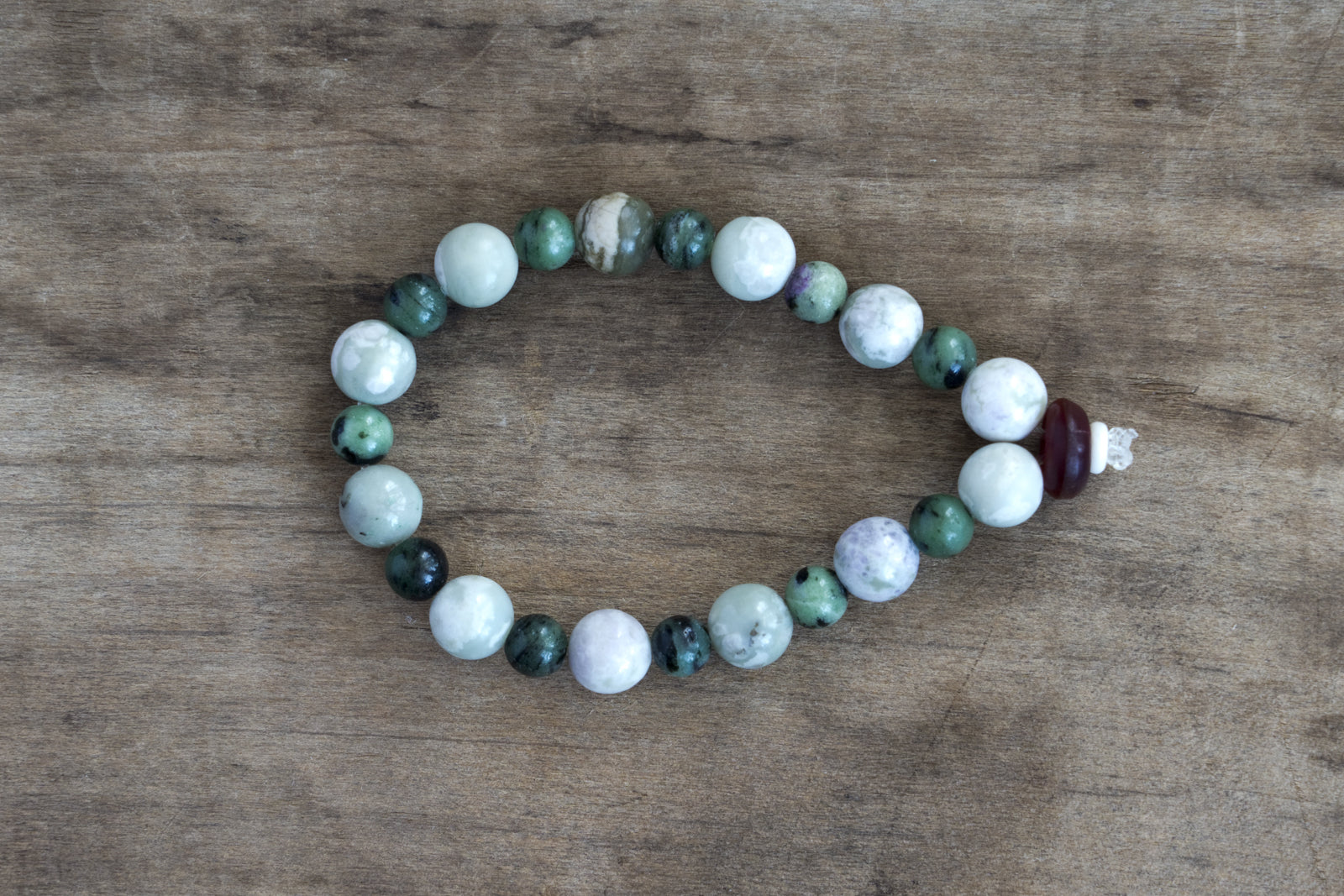 Moss Green Agate,  Ziosite/Ruby, Amber + Bone Single Wrap Wrist Bracelet