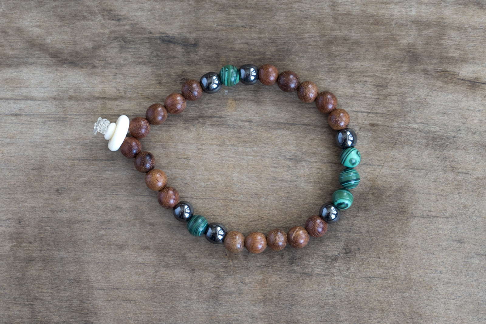 Malachite, Hematite, Wood + Bone Single Wrap Wrist Bracelet