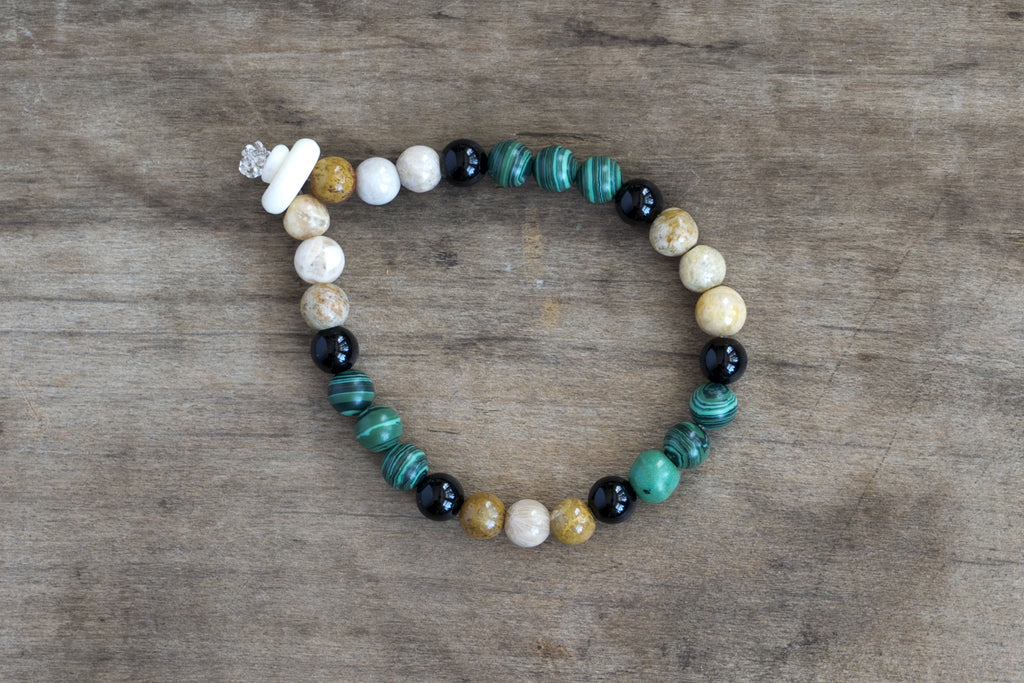 Malachite Jasper, Onyx + Bone Single Wrap Wrist Bracelet