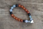 Bloodstone, Carnelian, Onyx + Bone Single Wrap Wrist Bracelet