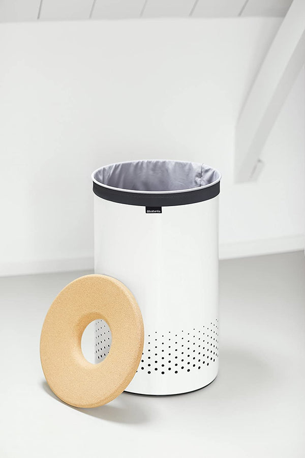 Brabantia Laundry Hamper, 16 Gallon , Cork Lid - White