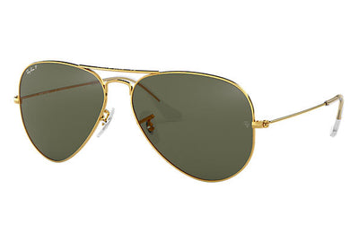 Ray-Ban Aviator Classic Sunglasses RB3025 L0205 - Polished Gold Frame - Green Classic G-15 Lenses - 58mm