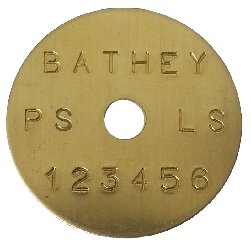 "1 1/2"" Brass Disk - Straight Text"