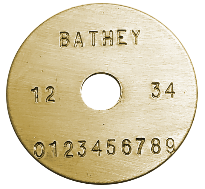 "1 1/4"" Brass Disk - Straight Text"
