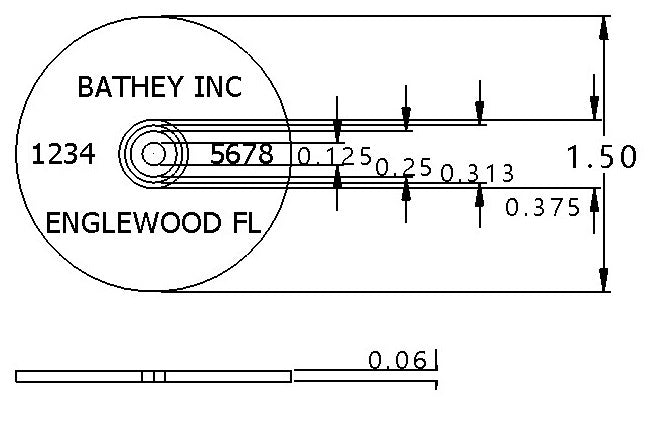 "1 1/4"" Aluminum Disk - Arc Text"