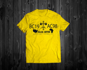 "Black Cotton ""Anchor"" Yellow Tee"