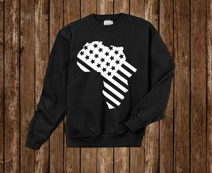 "Black Cotton "" Africa in America"" Crewneck Black"