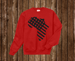"Black Cotton "" Africa in America"" Crewneck Red"