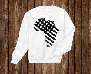 "Black Cotton ""Africa in America"" Crewneck White"