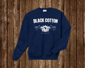"Black Cotton ""Since 98"" Crewneck Blue"