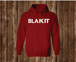 "Black Cotton ""BLAKIT"" Hoodie Red"