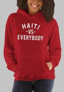 "Black Cotton ""Haiti Vs Everybody"" Hoodie - RED"